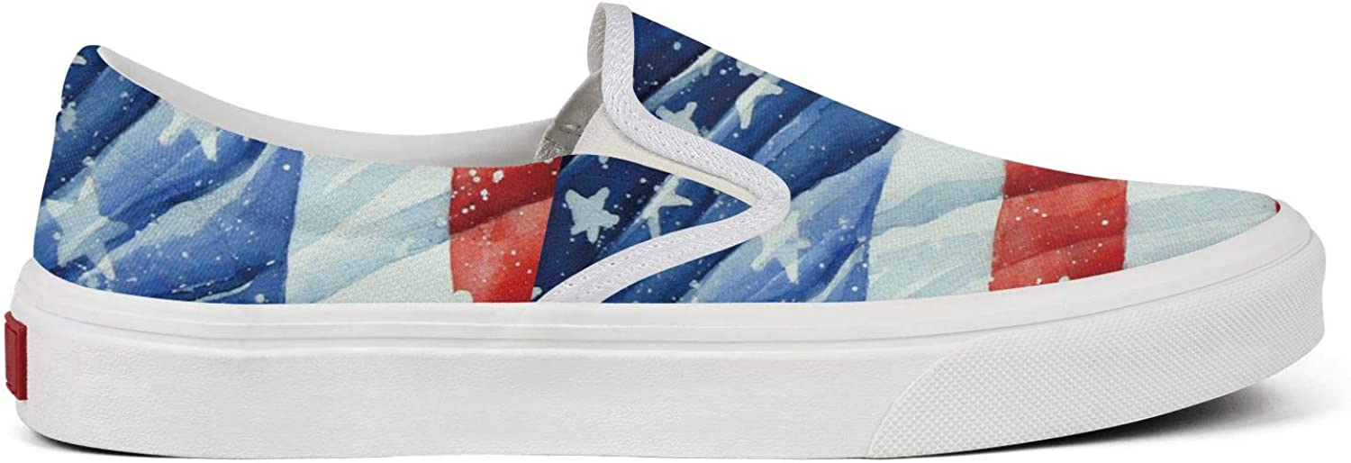 Womens American Flag Watercolor Canvas Sneakers Sports Wear Resistant Rubber Sole Excellent Walking Sports Shoes