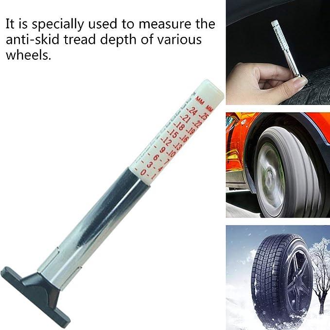 Jessicadaphne Measure Tool Tyre Tread Depth Gauge Tread Depth Meter for Car Trailer Motorcycle Caravan Trailer Wheel Car Accessories