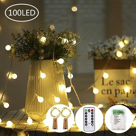 OFUN 100 LED Guirnaldas Led + 2 Led para Botellas, 8 Modos de Luz 11