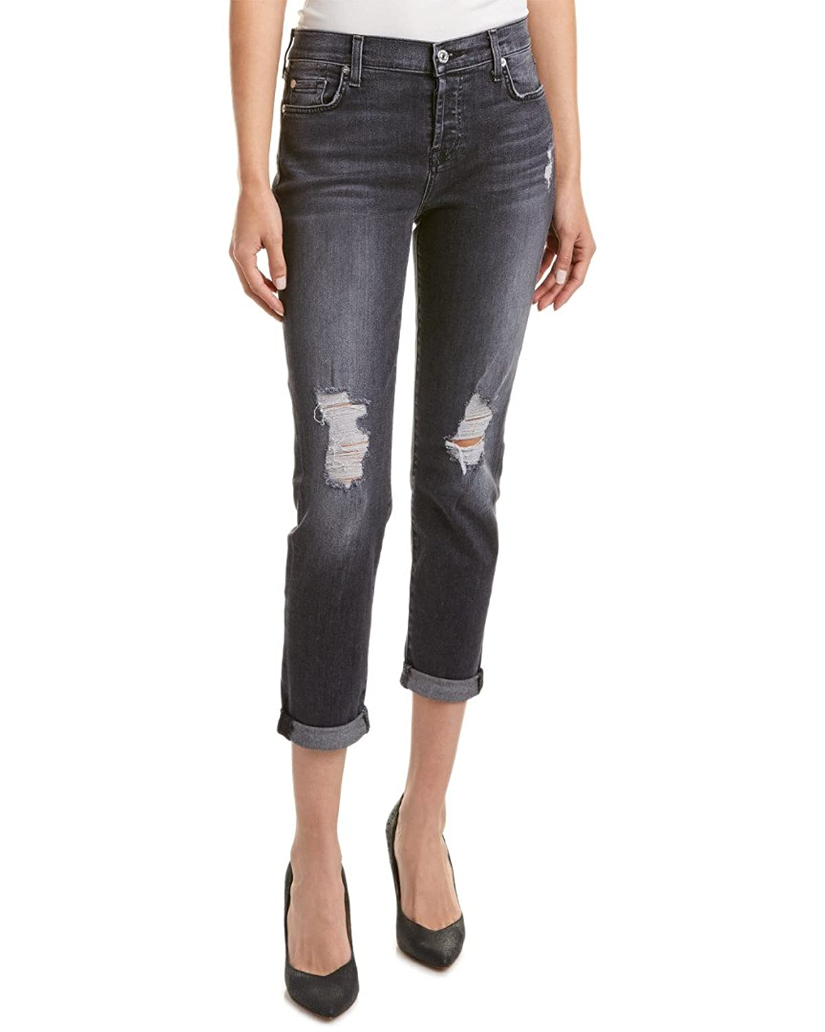 7 For All Mankind Women's Josefina w/ Destroy & Shadow Pockets - Clean Back Pocket in