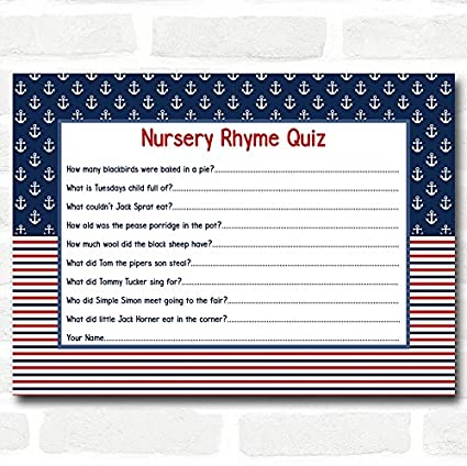 amazon com nautical baby shower games nursery rhyme quiz cards