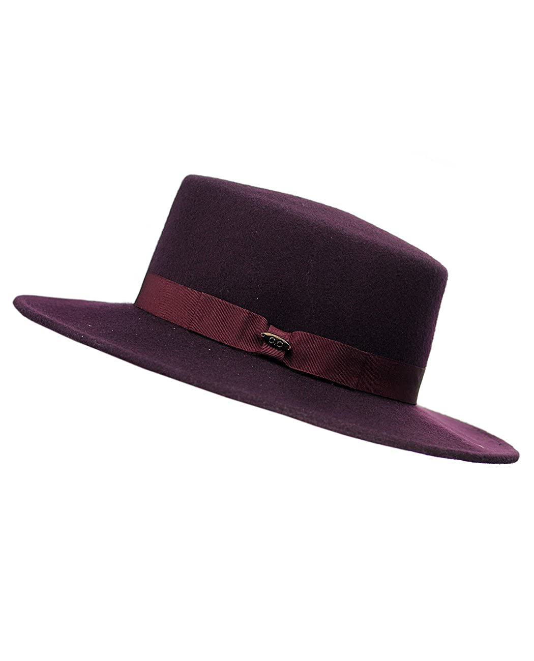NYFASHION101 Wool Wide Brim Porkpie Fedora Hat w//Simple Band Accent