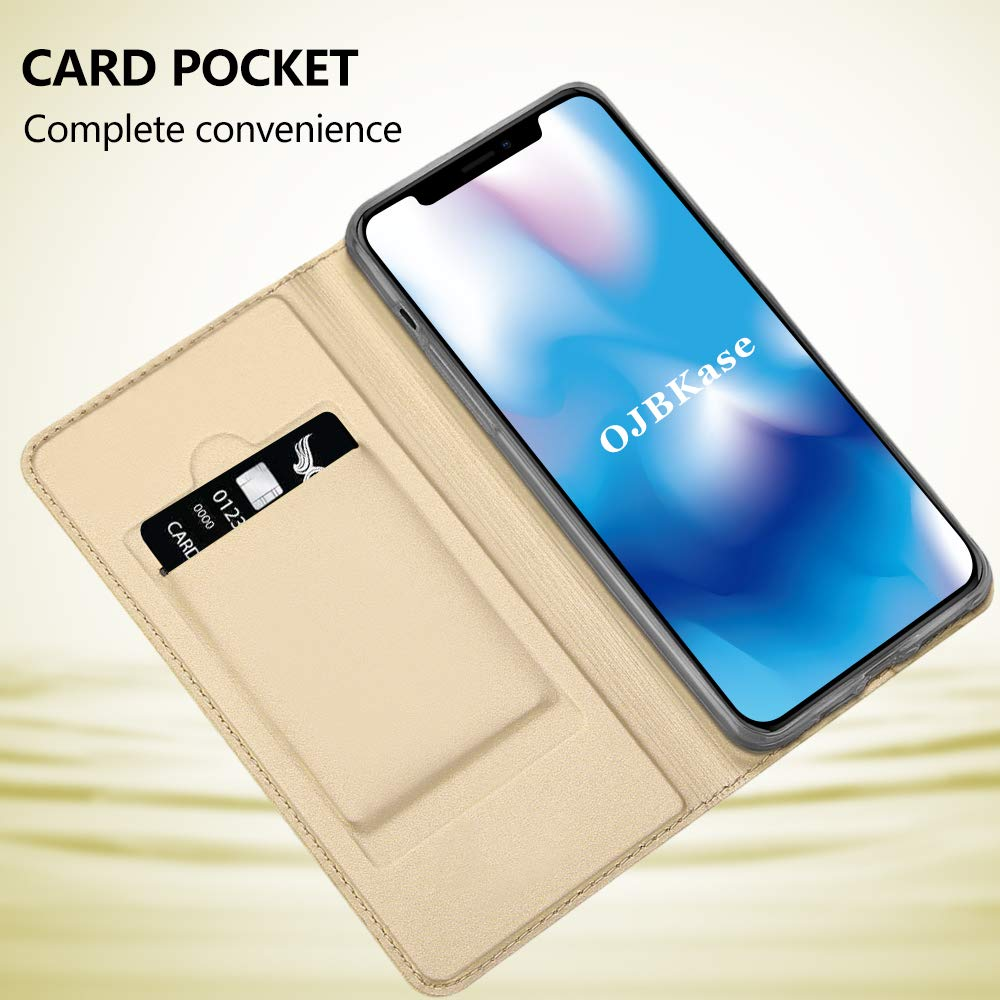 6.5 Inches OJBKase iPhone 11 Pro Max Rose Gold Case Premium Slim Flip PU Leather With TPU Shockproof Inner Shell Full-body Protection Book Wallet Case Cover for iPhone 11 Pro Max 6.5 Inches
