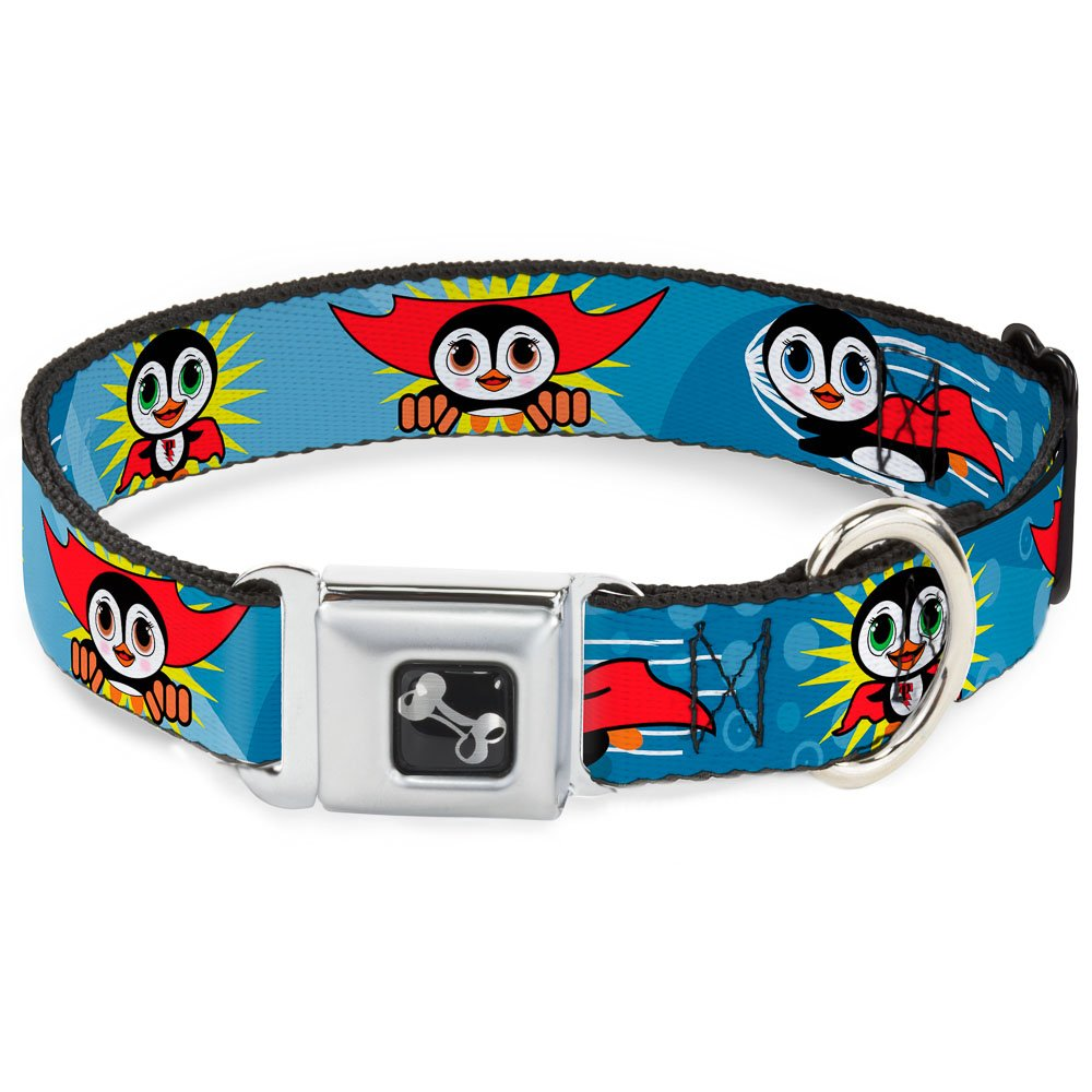 Buckle-Down Seatbelt Buckle Dog Collar Penguin Superhero bluee Bubbles 1  Wide Fits 11-17  Neck Medium