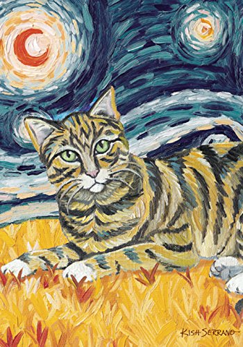 (Toland Home Garden Van Meow Tabby Kitty 28 x 40 Inch Decorative Colorful Artistic Starry Night Cat Portrait House Flag)