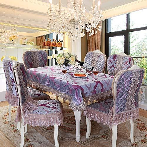 テーブルクロスマット ホームヨーロッパの高級コーヒーテーブルテーブルクロス生地テーブルクロスチェアカバーチェアクッションセットダイニングテーブルチェアカバーカバー増加背もたれ厚さ ホームデコレーション (色 : Purple, サイズ : (130*180cm)) (130*180cm) Purple B07QKYMDJH