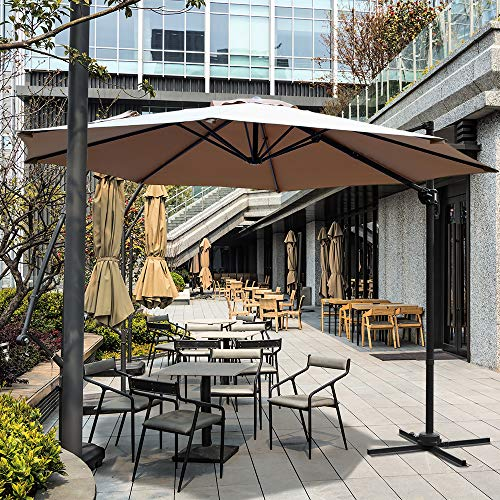 Aclumsy 10ft Patio Offset Cantilever Umbrella-Patio Hanging Umbrellas,Outdoor Market Umbrellas with Crank Lift & Cross Base(Beige)