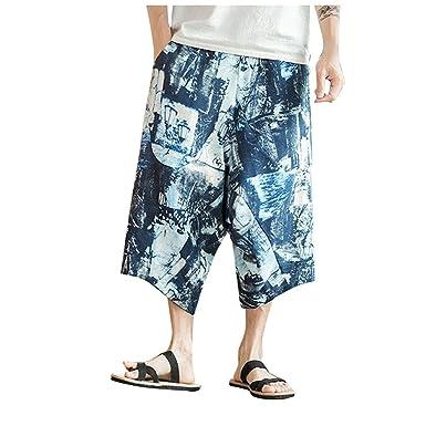 YiYLuuneo Pantalones Cortos Chandal Sueltos Estampado Masculino De ...