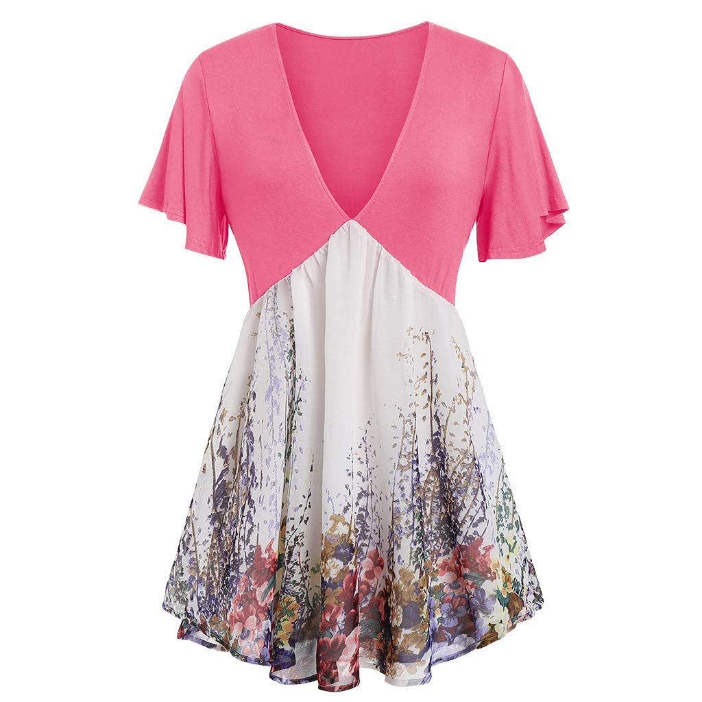 Plus Size Tops for Women,Fashion Womens Plus Size Sleeveless Print Lace Shirt Blouse Casual Tank Tops Pink by Sinzelimin