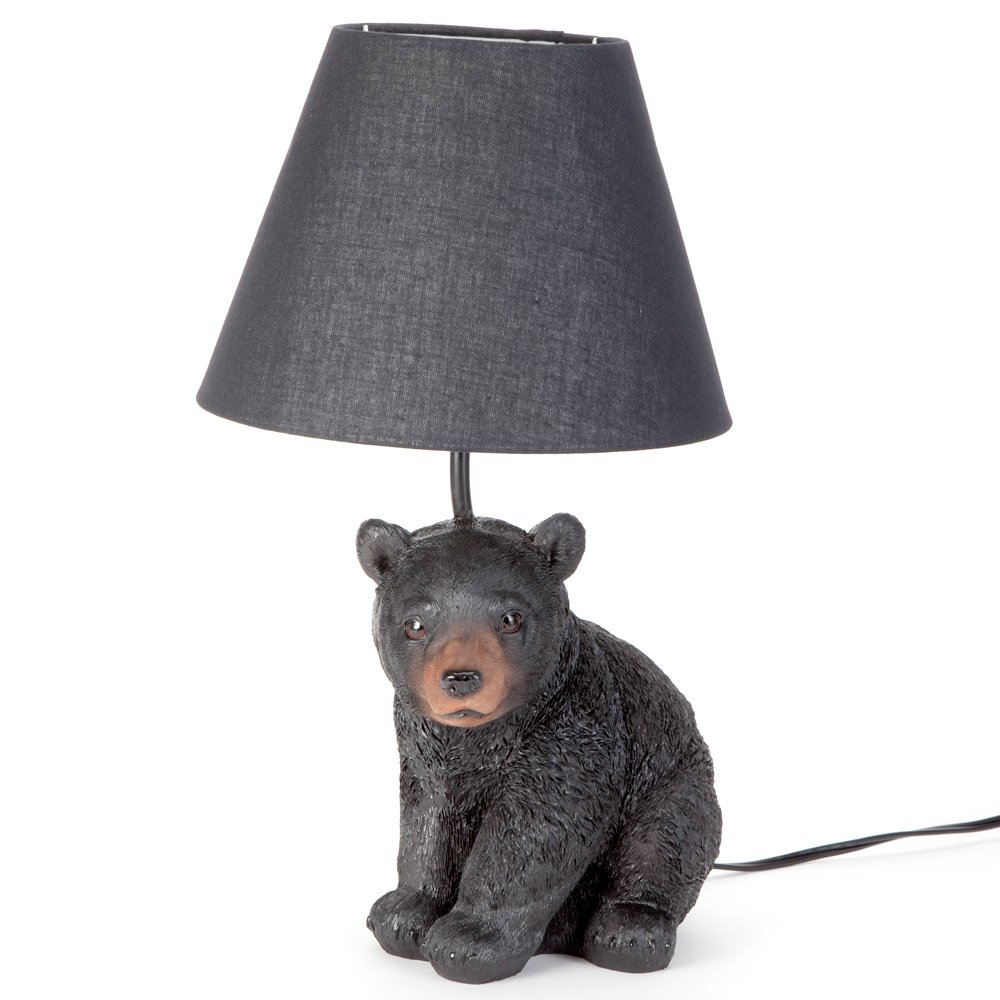 Bits and Pieces - Black Bear Cub Table Lamp - Animal Shaped Light for your Home or Office