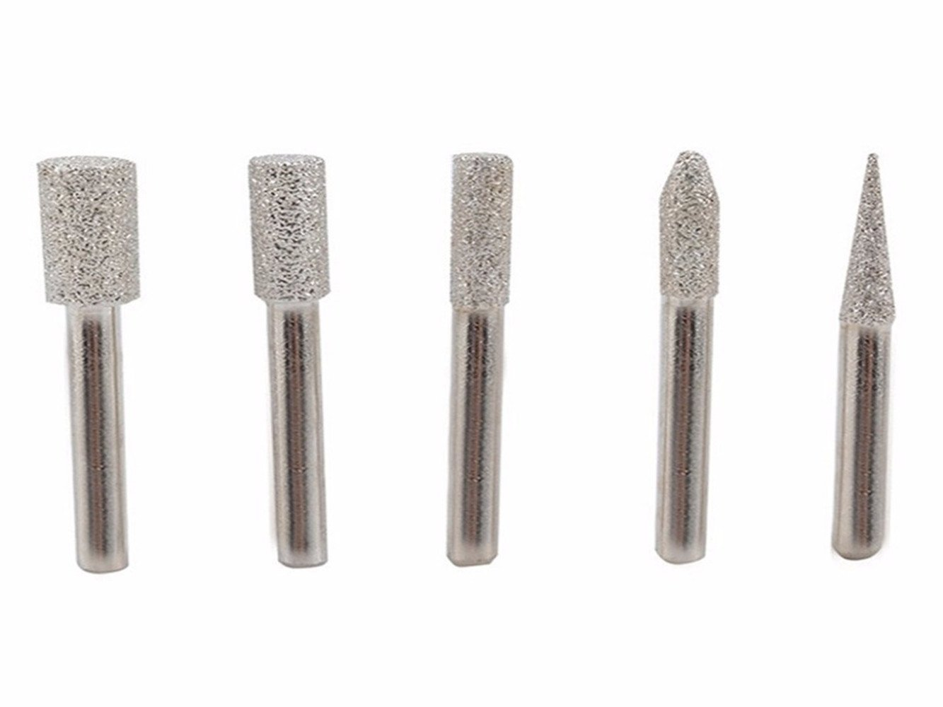 Brazed Grinding Bits KangTeer 5pcs 1/4'' Shank Brazed Diamond Burrs for Stone Concrete Ceramic Diamond Mill Diamond Polishing Buffing Mounted Point