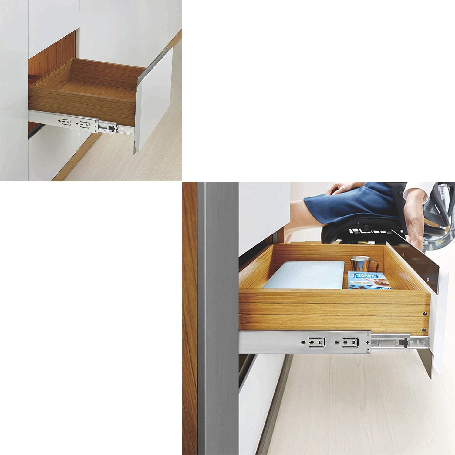 Side Mount Drawer Runners 100 Lb Load Capacity Soft/Closing Drawer Slides Full Extension Ball Bearing 12 Inches 5 Pairs 10 Pcs 3 Fold Heavy Duty Drawer Rails 300mm