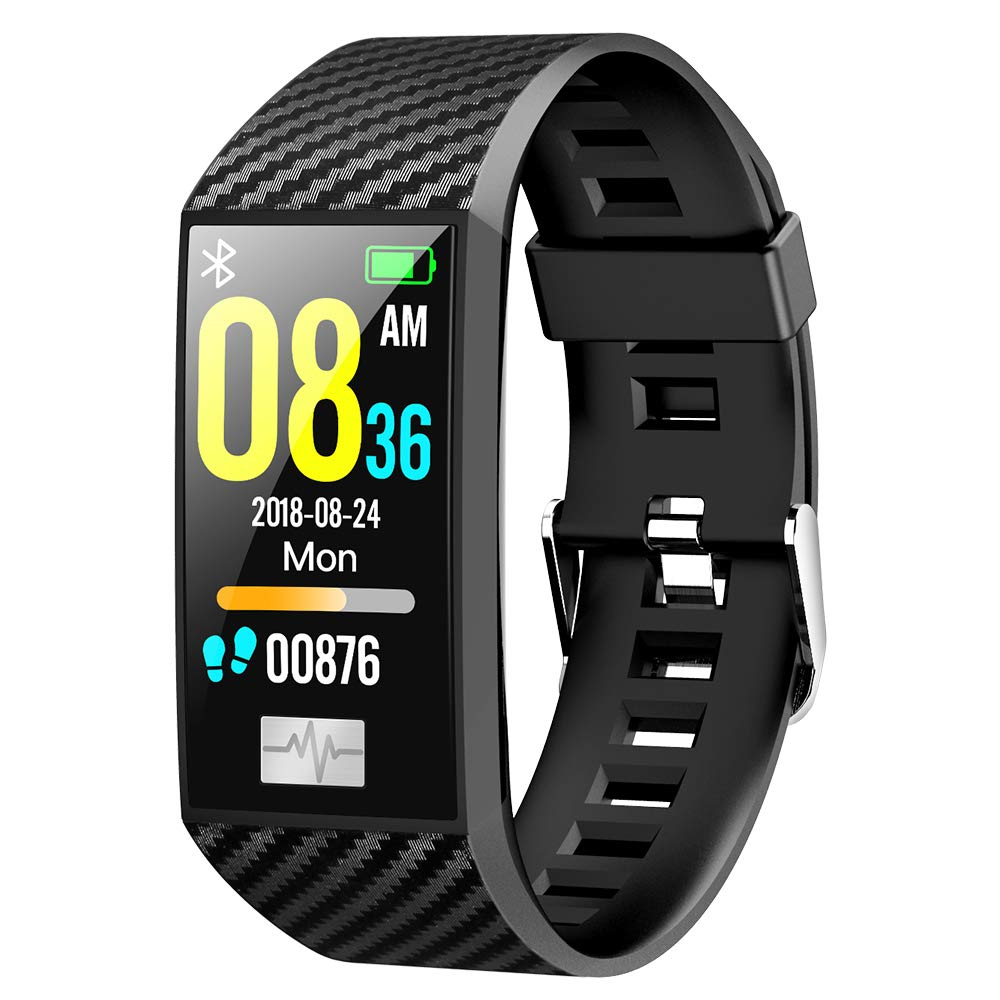 Bluetooth Watch for Men, KingTo IP68 Waterproof Smart Bracelet ECG Heart Rate Monitor Blood Pressure Fitness Tracker Running Multi-Sports Mode Smart Wristband for Android Phones (Black)