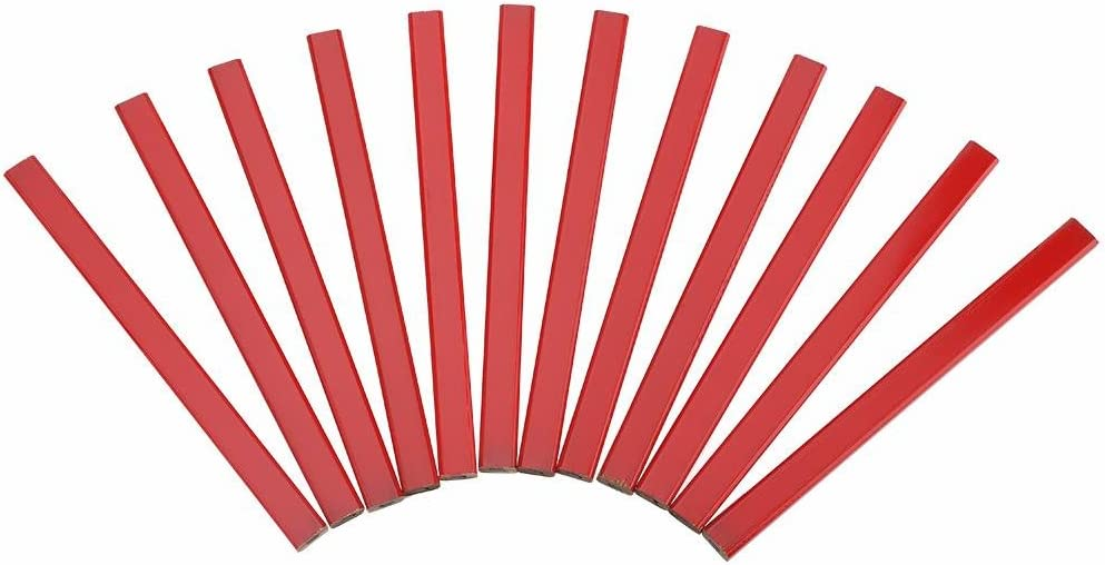 Carpenter Pencil Samfox 175mm Octagonal Hard Black Lead Carpenter Pencil Woodworking Marking Tool 72Pcs