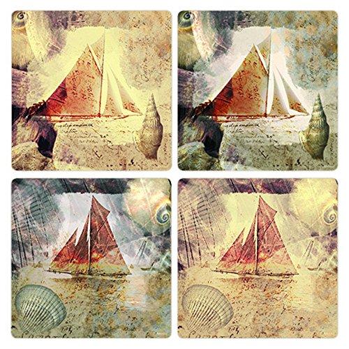 Absorbastone Coaster Set - CoasterStone Sail Onward Absorbent Coasters (Set of 4), 4-1/4