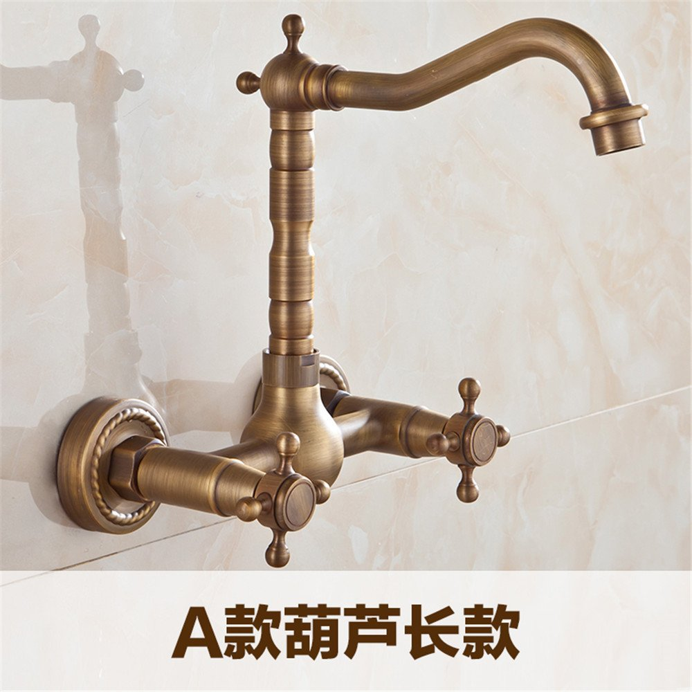 Commercial Single Lever Pull Down Kitchen Sink Faucet Brass Constructed Polished Copper European Antique Bathroom Toilet Faucet Wall-Mounted Kitchen Hot and Cold redating Faucet