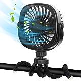 DR.PREPARE Stroller Fan, Portable Handheld Fan Battery Powered Clip On Fan Personal Desk Baby Fan with Flexible Tripod, 3 Spe