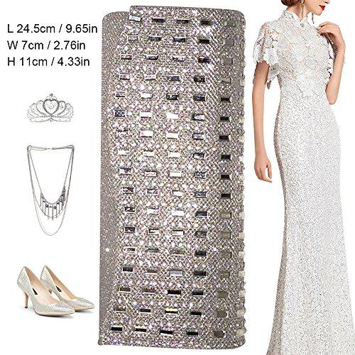 Diamante Silver Bridal Evening Party Wedding Clutch Womens Bag Fashion new 2 Purse Handbag Vintage Wocharm Hand Prom Prom Satin Brand qg14nt