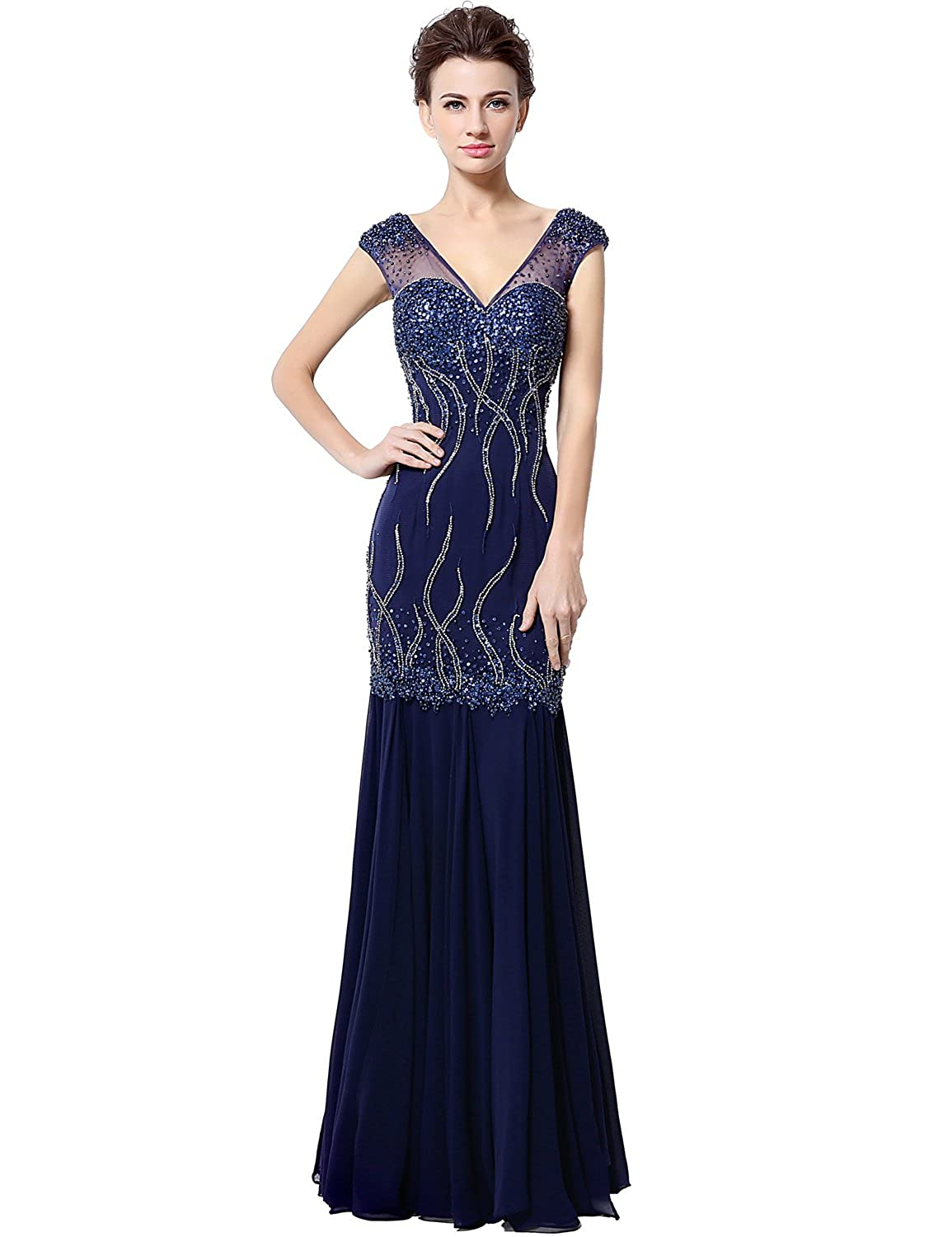 Favebridal Women's V-neck Mermaid Evening Dresses Sexy Beaded Prom Gowns LX032