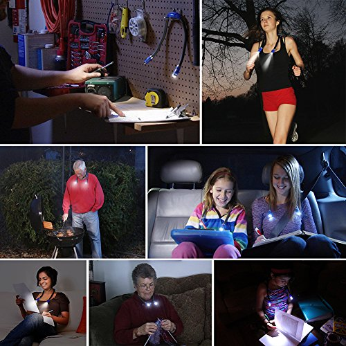 Ledgle Neck Book Light LED Reading Lamp Rechargeable, Hands Free, 4 LED Bulbs, 4 Adjustable Brightness, USB Cable Included for Reading in Bed or Reading in Car