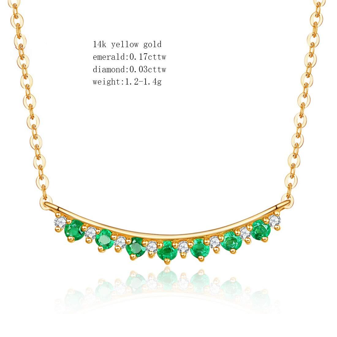 16 Carleen 14k Solid Yellow Gold 0.17ct Natural Green Emerald 0.03cttw Diamond Sideways Bar Pendant Necklace For Women Girls 2 Extender