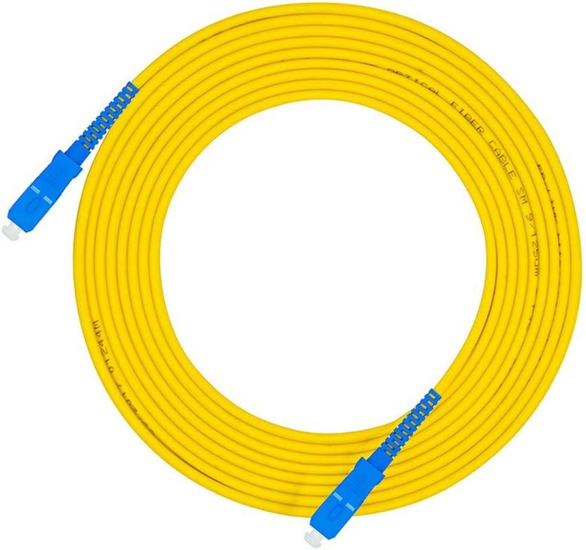 Jeirdus 15Meters 50ft SC//APC to SC//APC Fiber Optic Cable Jumper Optical Patch Cord Simplex Single-Mode 9//125 SC-SC