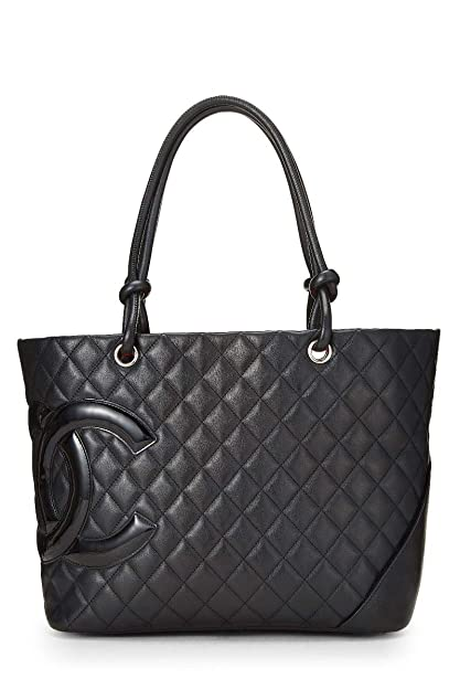 20e74633c1 Amazon.com: CHANEL Black Quilted Calfskin Cambon Ligne Tote Large ...