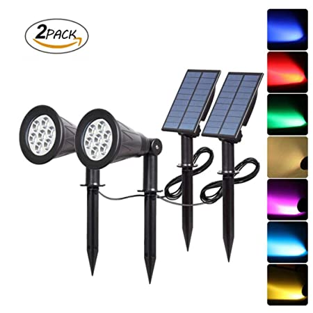QWER Proyector Solar, 7 LED Color-cambiante luz Solar Impermeable ...