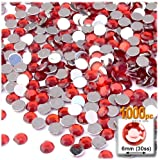 The Crafts Outlet 1000-Piece Flat Back Round Rhinestones, 6mm, Ruby Red