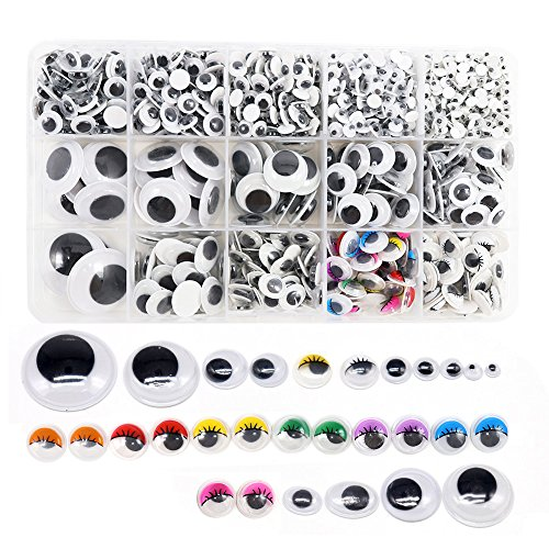 1 Box/lot (Approx.1120 pcs) 4-25mm Plastic self-Adhesive Googly Wiggle Eyes (4-25mm)
