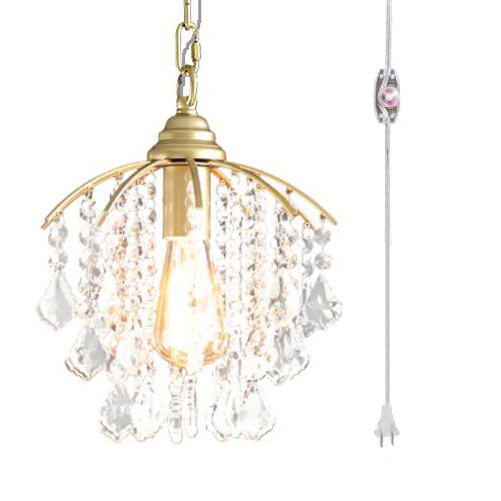 Kiven Plug In Pendant Light Hanging Swag Lamp Crystal Shade Perfect Ceiling No Wiring For Apartmentdormsno