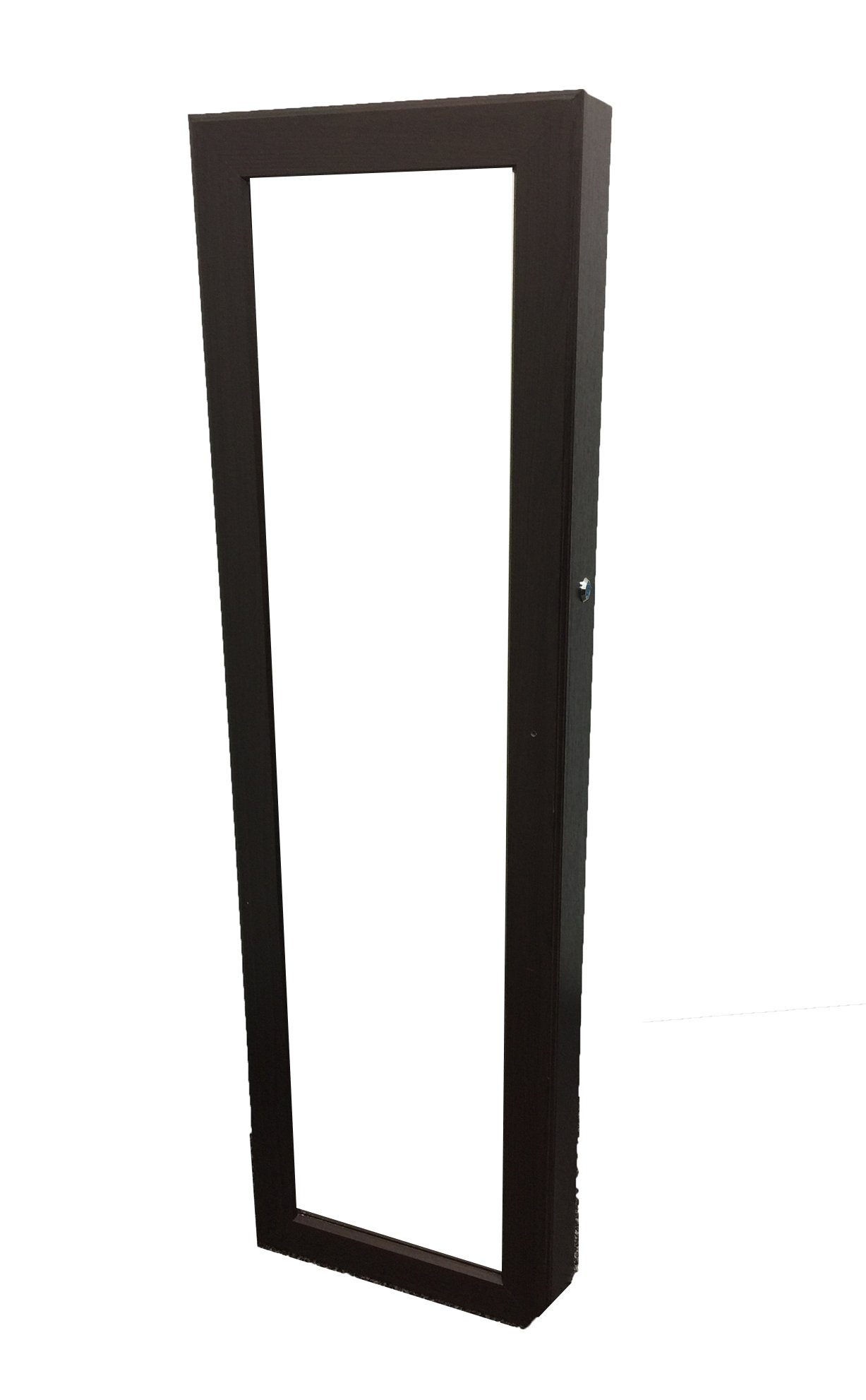 Locking Jewelry Armoire with Mirror - Wall Mount or Hanging Over the Door by Perfect Life Ideas - COLOR: Dark Espresso Brown