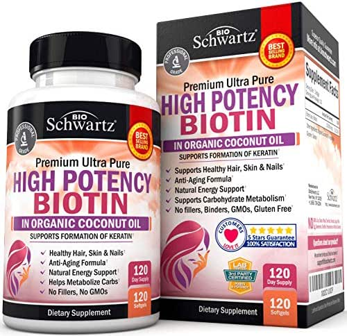 High Potency Biotin 10000mcg Supplement with Organic Coconut Oil for Hair Growth, Skin & Nail Support - Promotes Keratin Formation & Hydration - Anti-Aging, Metabolism & Natural Energy Support
