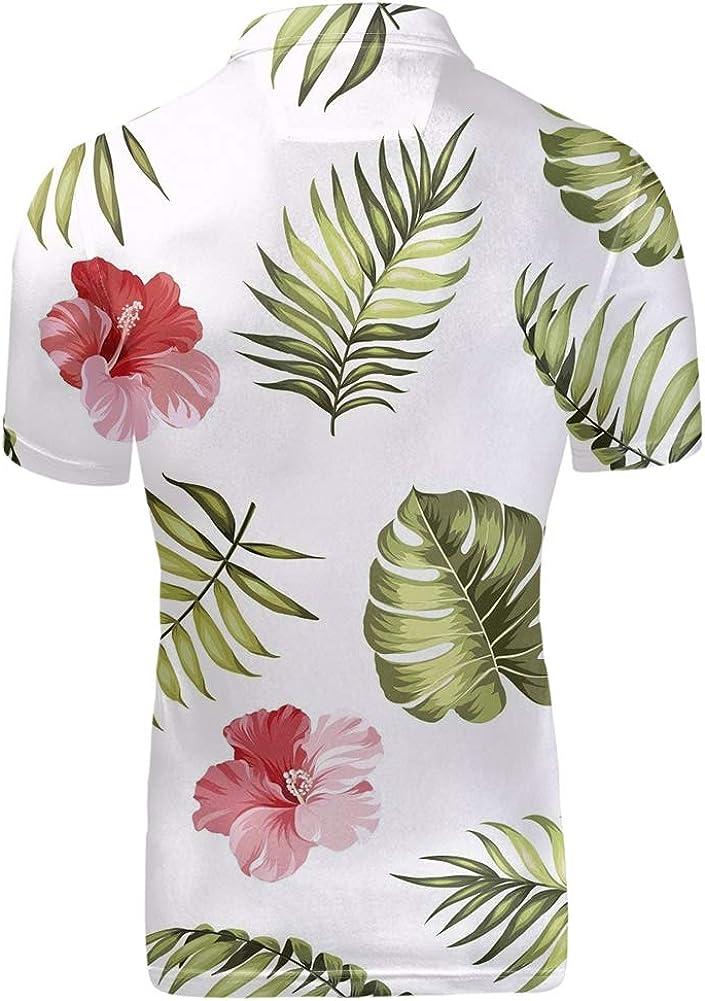 LedBack Polos Homme Manches Courtes Casual T-Shirts /à Manches Courtes Chemise Sports Slim Tee Tops Polosshirt de Quotidien Hawa/ïen Fleurs Imprim/é
