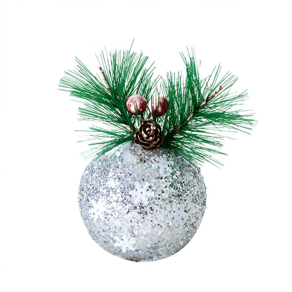 Hongxin Xmas Tree Hanging Ornament,Christmas Linen Large Size Diamond Balls Hanger Baubles Party Decor (Silver, About 13×7.5cm)