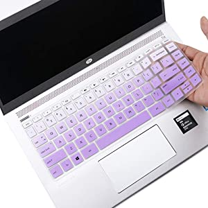 for HP Pavilion X360 14 Keyboard Cover Skin for HP Pavilion x360 14M-BA 14M-CD 14-BF 14-BW 14-cm 14-CF Series 14 Inch Laptop Silicone Keyboard Protector Skin, Gradual Purple (with Squared Keypad)