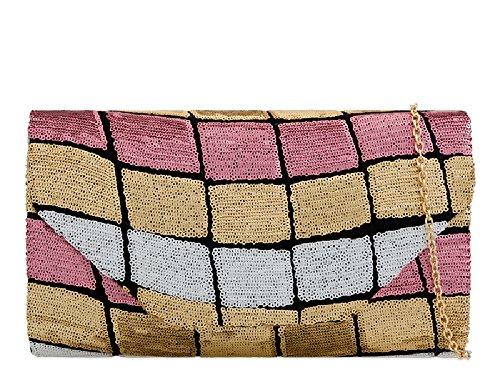 Women's Pink Ladies Clutch Geometric Envelope Evening Retro KK2267 Bag Sequin Handbag xwaaXqS