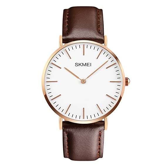 Mens Wrist Watch Minimalist Brown Leather Band Analog Quartz Watch Classic Casual Dress Watches For Men