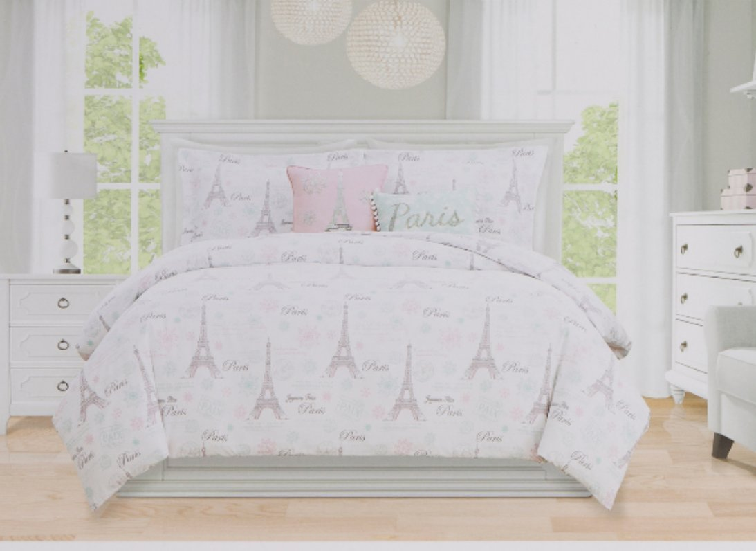 Paris Comforter Set Full/Queen Envogue Kids Bedding 5 pc Script Stamp Eiffel Tower Parisian Theme Pink Gray White Girls Bedding