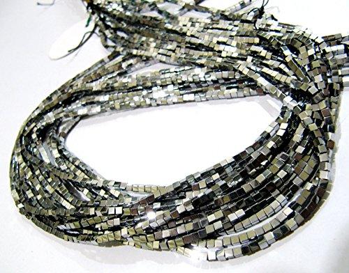 atite Cube Beads / Box Shape Semi Precious Beads / 2 mm Size Silver Color Hematite Beads / Strand approx 15-16 inch long (Hematite Cube Bead Strand)