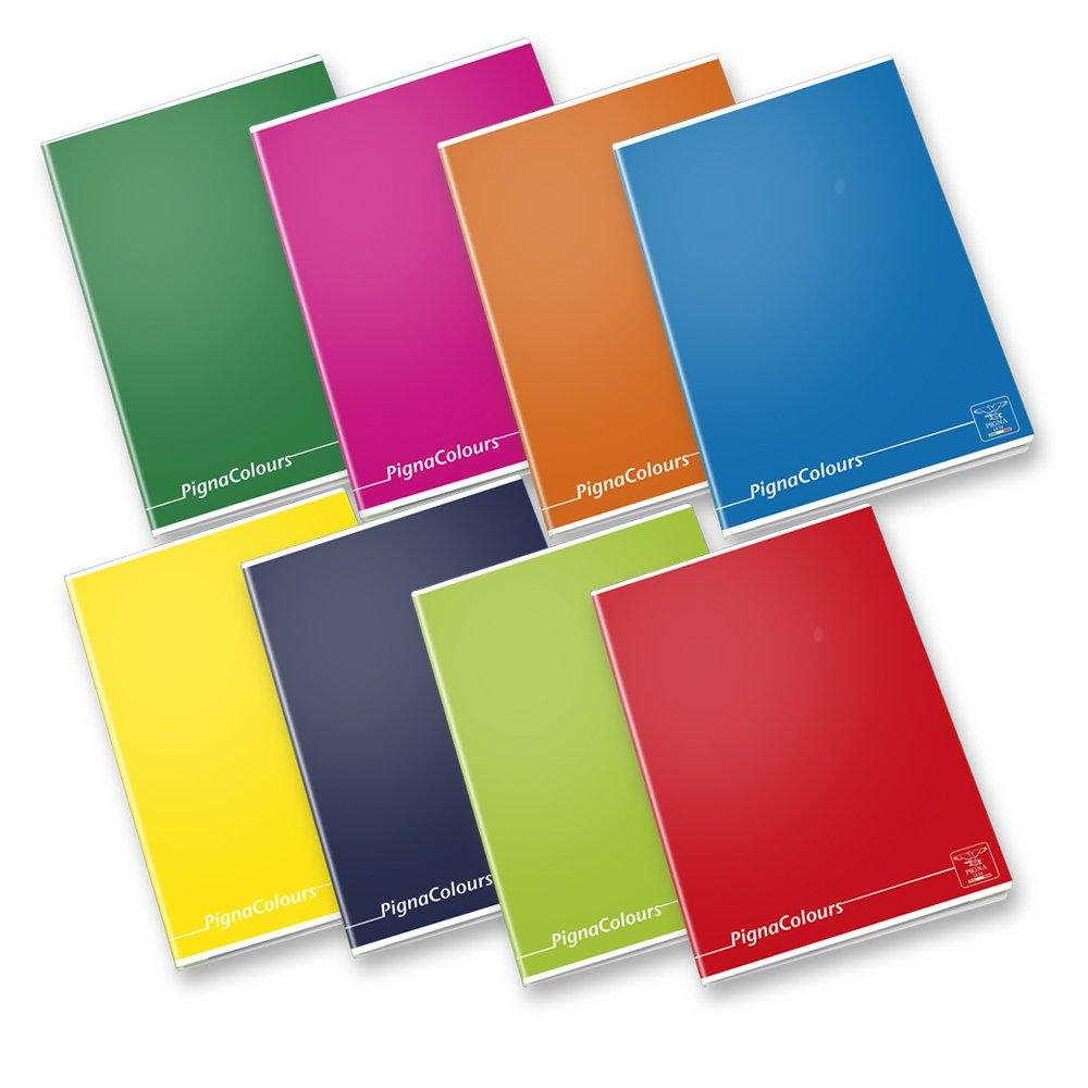 Pigna Colours 02136421R, Quaderno formato A4, Rigatura 1R, righe per medie e superiori, Carta 80g/mq, Pacco da 10 Pezzi