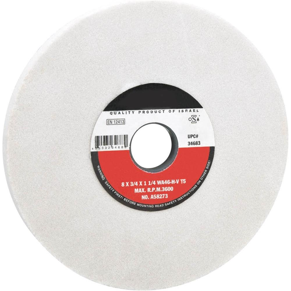 Friable 46 Grit 1-1//4 Bore WOODSTOCK D4677 8 X 3//4 Grind Wheel Type 1