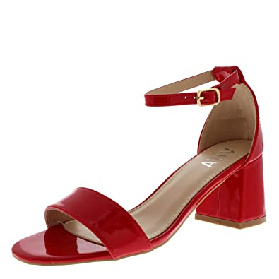 cc3ec373dcd Womens Sandal Cut Out Block Heel Open Toe Barely There Ankle Strap Heels