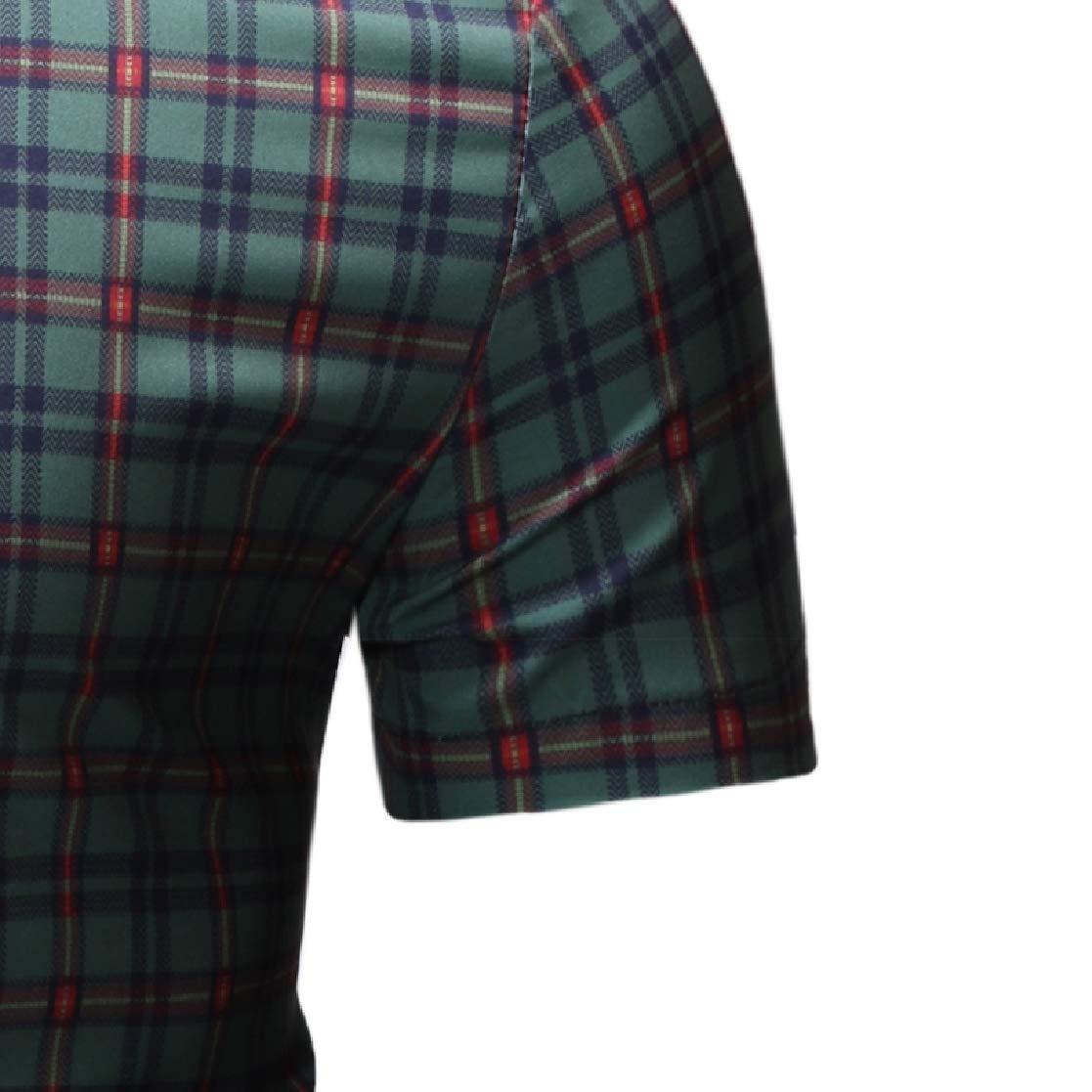 YUNY Mens Oversize Short-Sleeve Britain Plaid Summer Tee Polo Shirt Green 2XL
