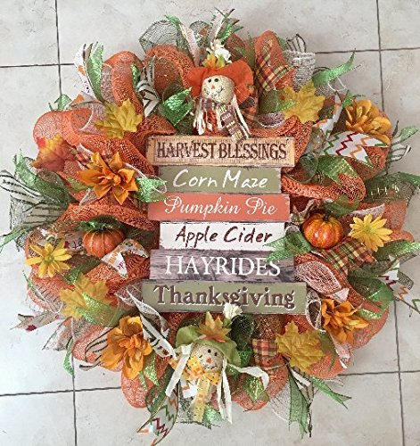 Thanksgiving and Fall Wreath with Awesome Sign, Pumpkins, Scarecrows, Flowers and Leaves
