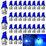 30-Pack 194 Blue LED Light 12V,120Lum 6500k AMAZENAR® Car Interior and Exterior T10 5-SMD 5050 Chips Replacement For W5W 168 2825 Map- Dome- Courtesy- License Plate- Dashboard Side Marker Light