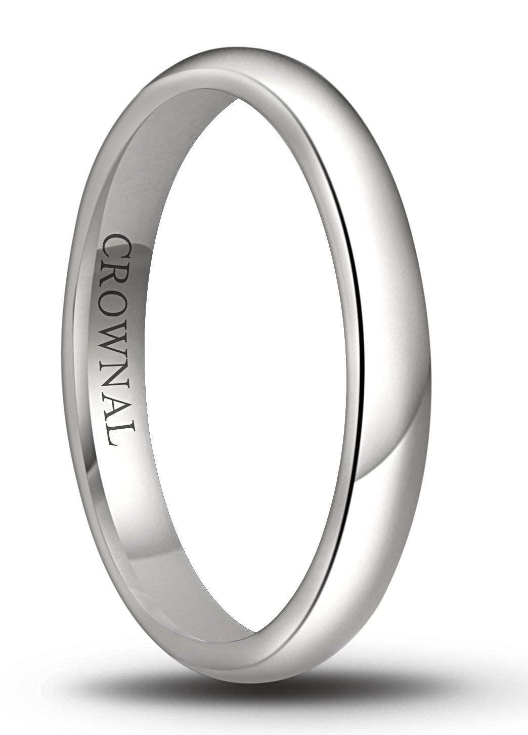 Crownal 6mm/5mm/4mm/3mm/2mm White Tungsten Carbide Polished Classic Dome Wedding Ring All Sizes (3mm, 7.5)