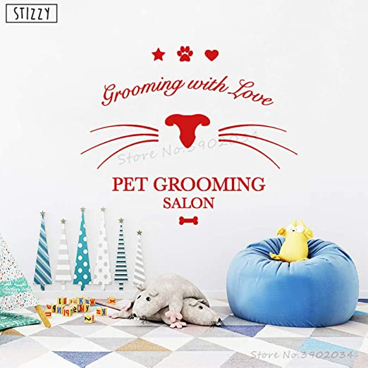 zhuziji Tatuajes de Pared Animal Pet Grooming Salon Vinilo Vinilo ...