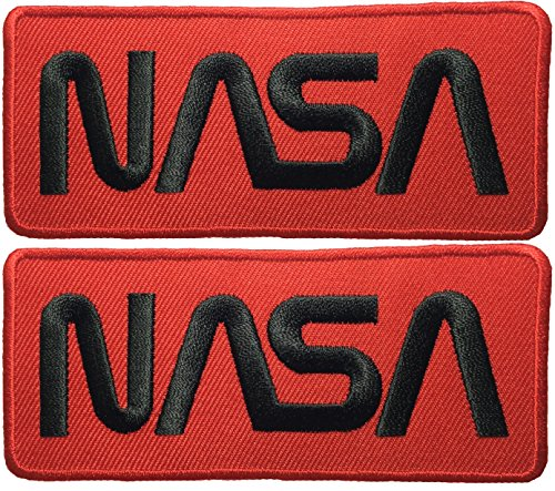 [Set 2 of Nasa Space Shuttle Vector Discovery Agency Houston USA Embroidered Appliques Hat Cap Polo Backpack Clothing Jacket Shirt DIY Sewing Iron On Costume Badge Logo Patch - Red] (Costumes For Adults Diy)