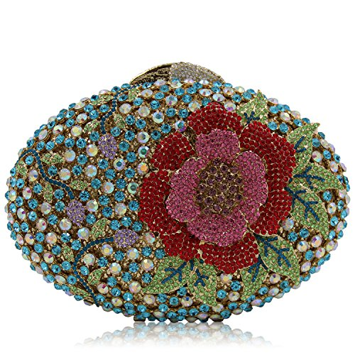 Portefeuille de Strass métallique soirée préférée beauté main Pochette femme mariage fleur Sac cadre Mesdames C de Luxe à sac ORnAwx0